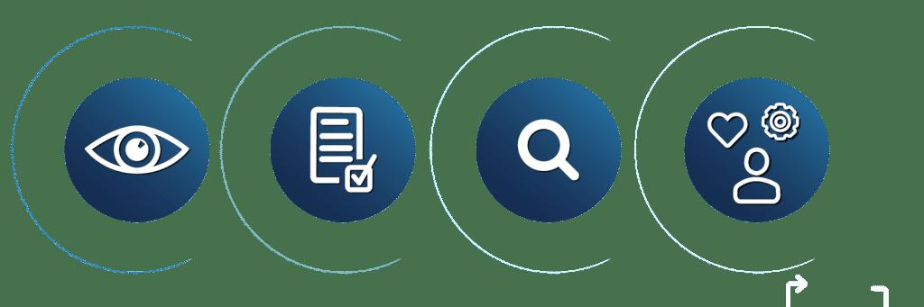 Transparenz, Nacghprüfbarkeit, Recherche, Kompetenz: Icons
